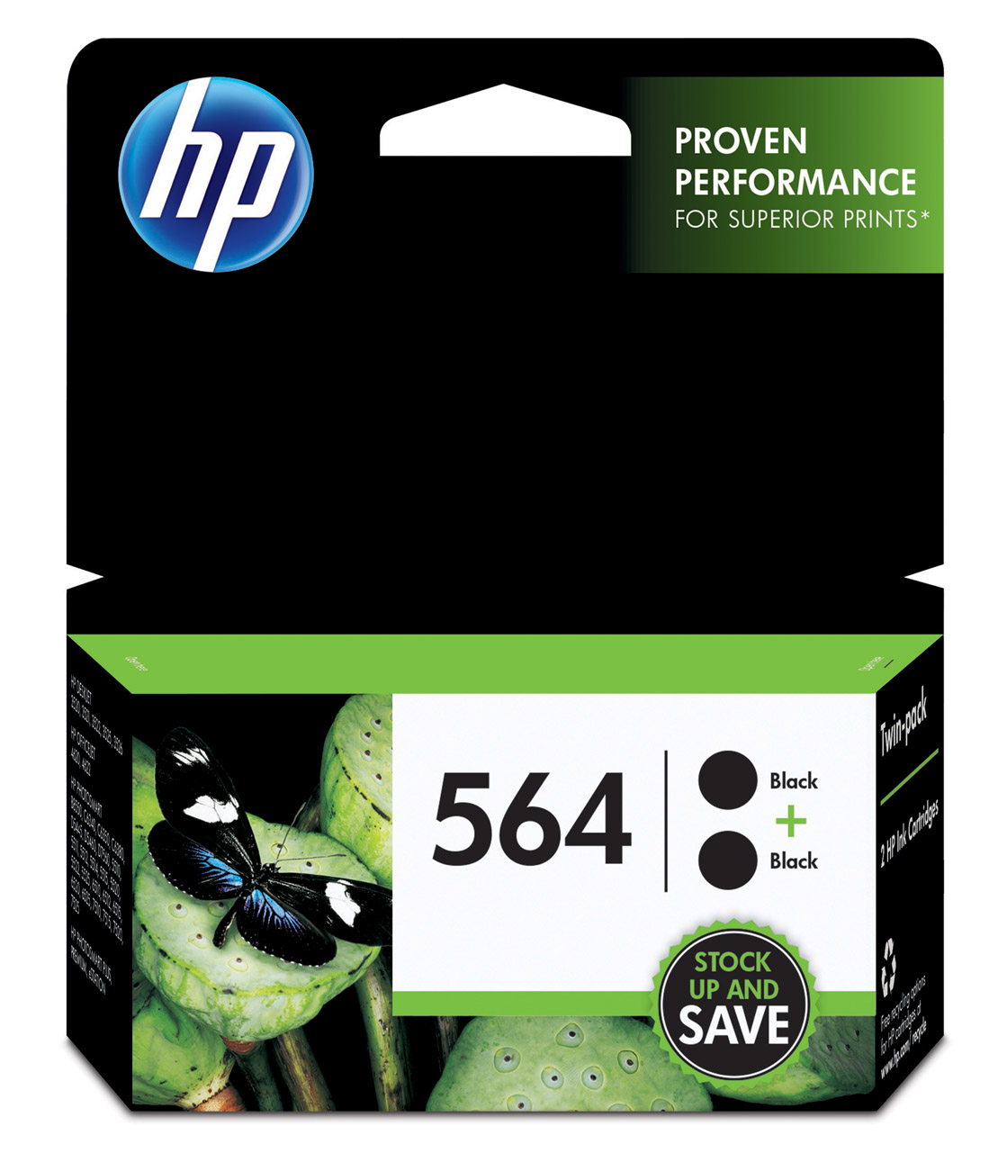 HP 564 Black Ink Cartridge C2P51FN, 2/Pack