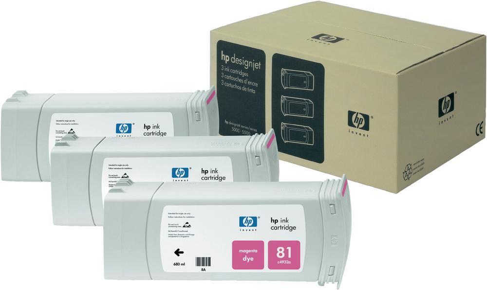 HP 81 3 Pack Magenta Ink Cartridge C5068A