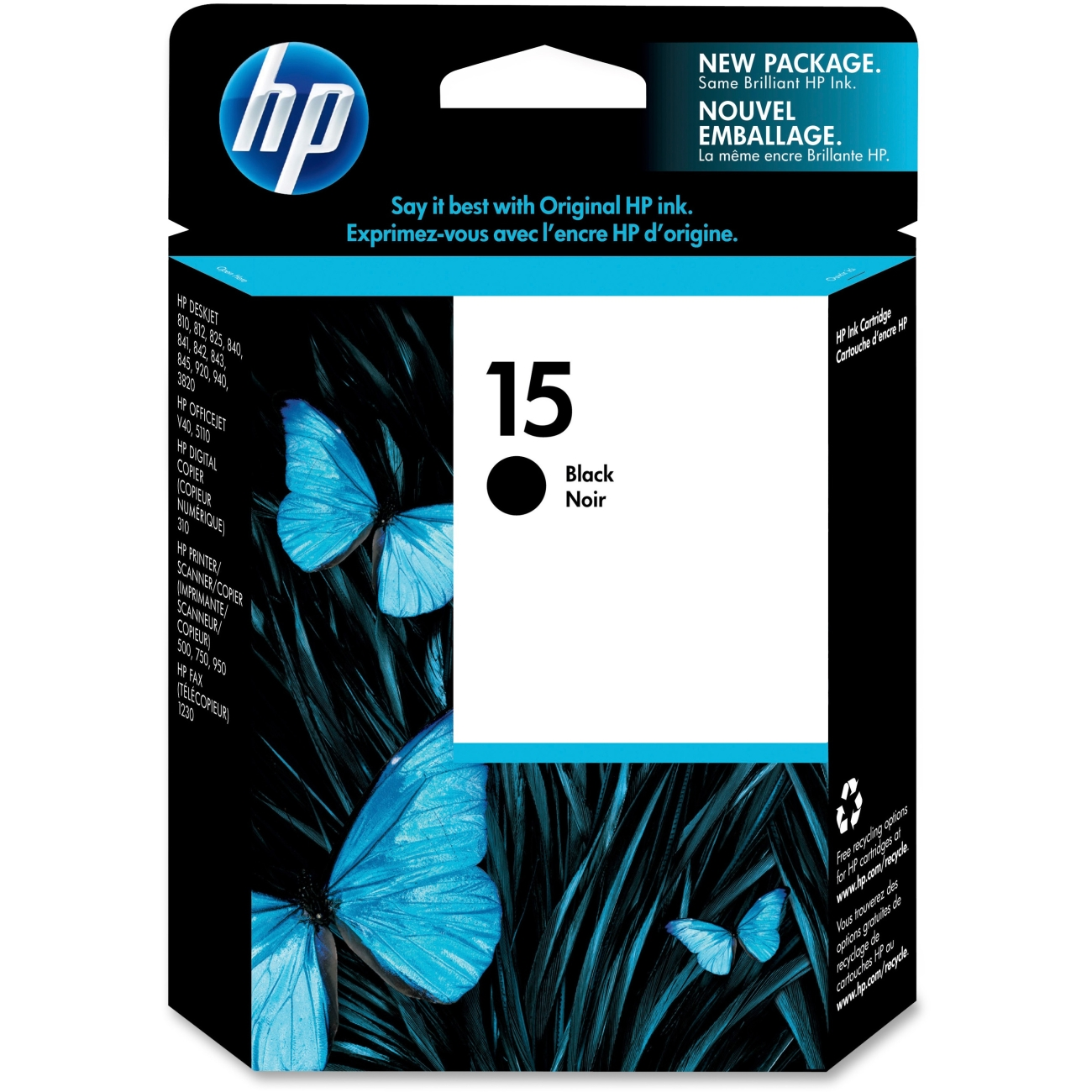 HP 15 Black Ink Cartridge C6615AN