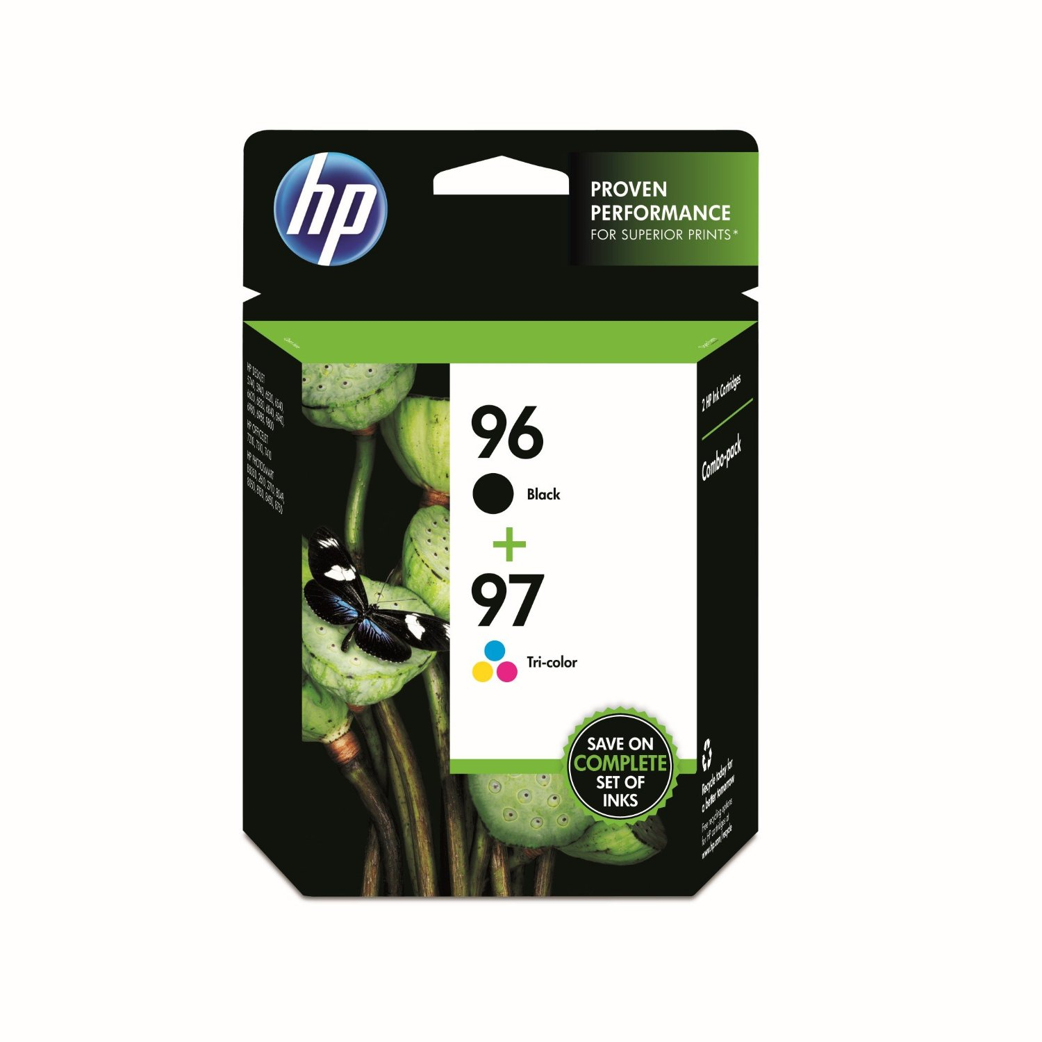 HP 96, HP 97 Black and Tricolor High Yield Ink Cartridges Combo C9353FN 2/Pack