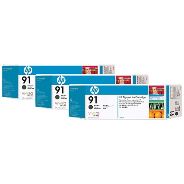 HP 91 Matte Black Ink Cartridge C9480A 3/Pack