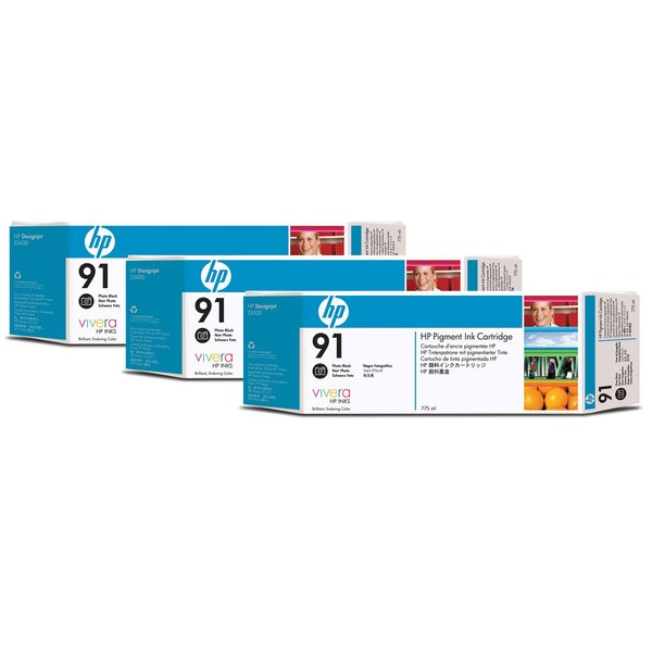 HP 91 Black Photo Ink Cartridges C9481A, 3/Pack