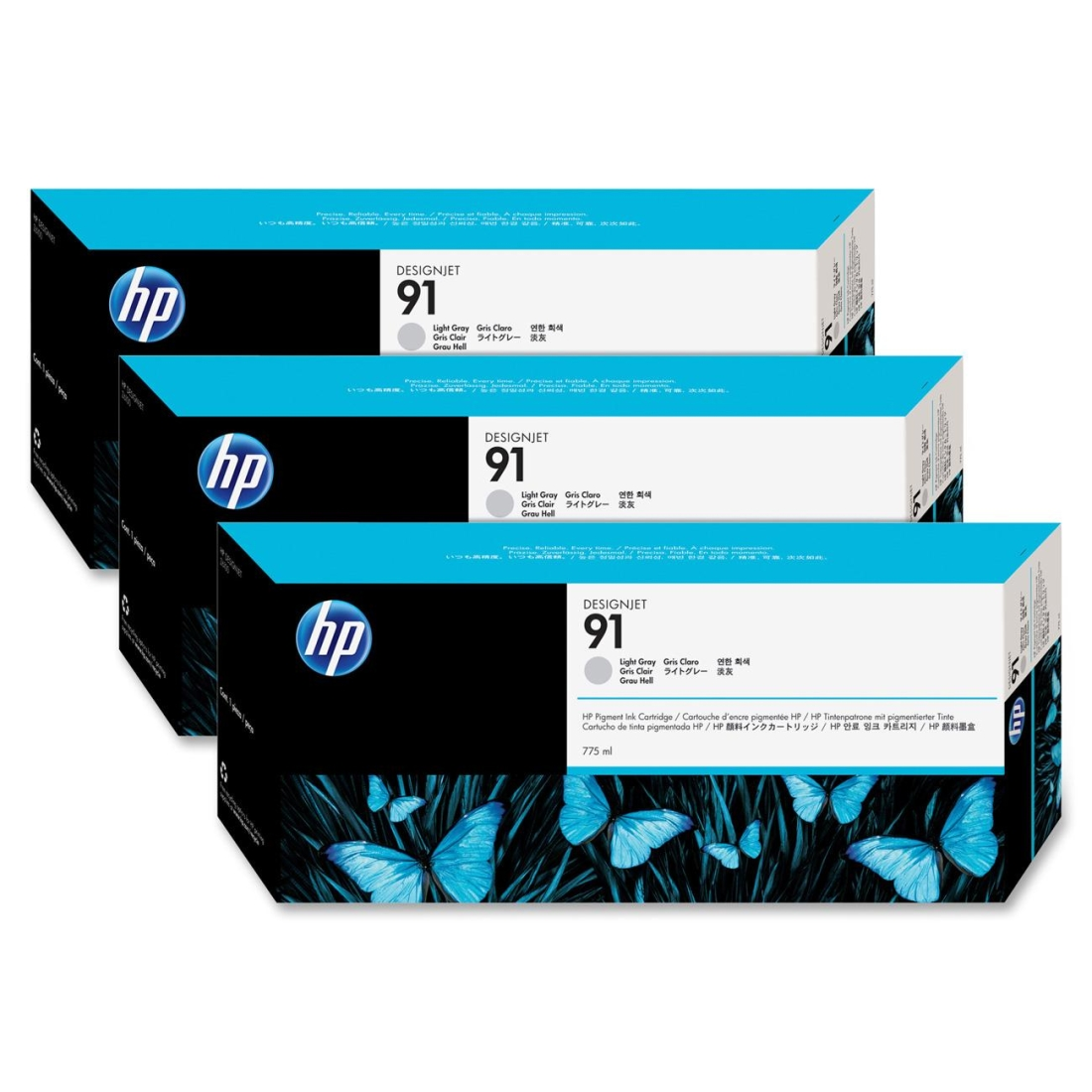 HP 91 Light Gray Ink Cartridge C9482A 3-Pack