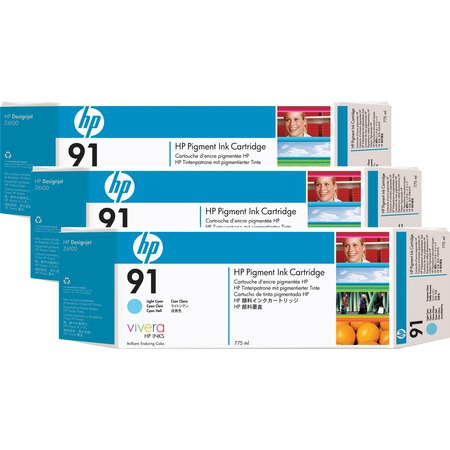 HP 91 Light Cyan Ink Cartridges C9486A 3/Pack