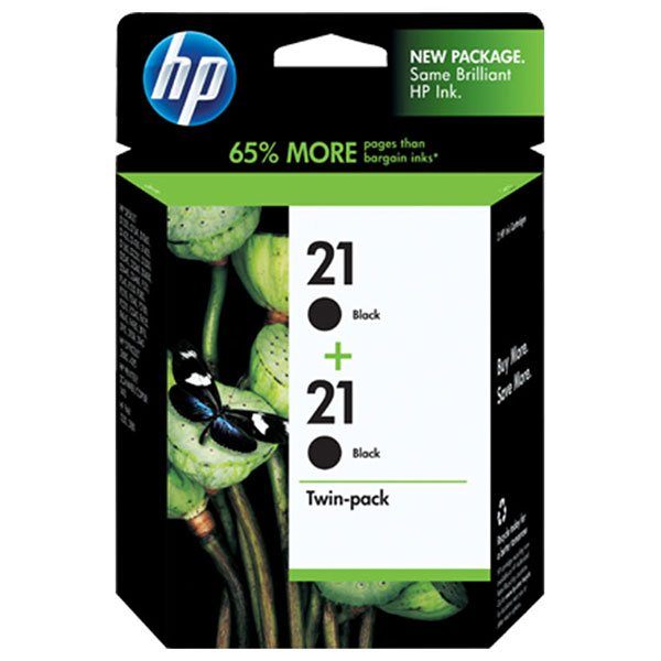 HP 21 Black Ink Cartridge C9508FN, 2/Pack