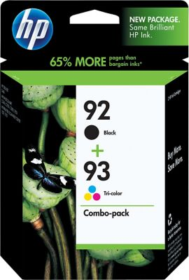 HP 92/93 Black and Tri-Color Ink Cartridges Combo C9513FN, 2 Pack