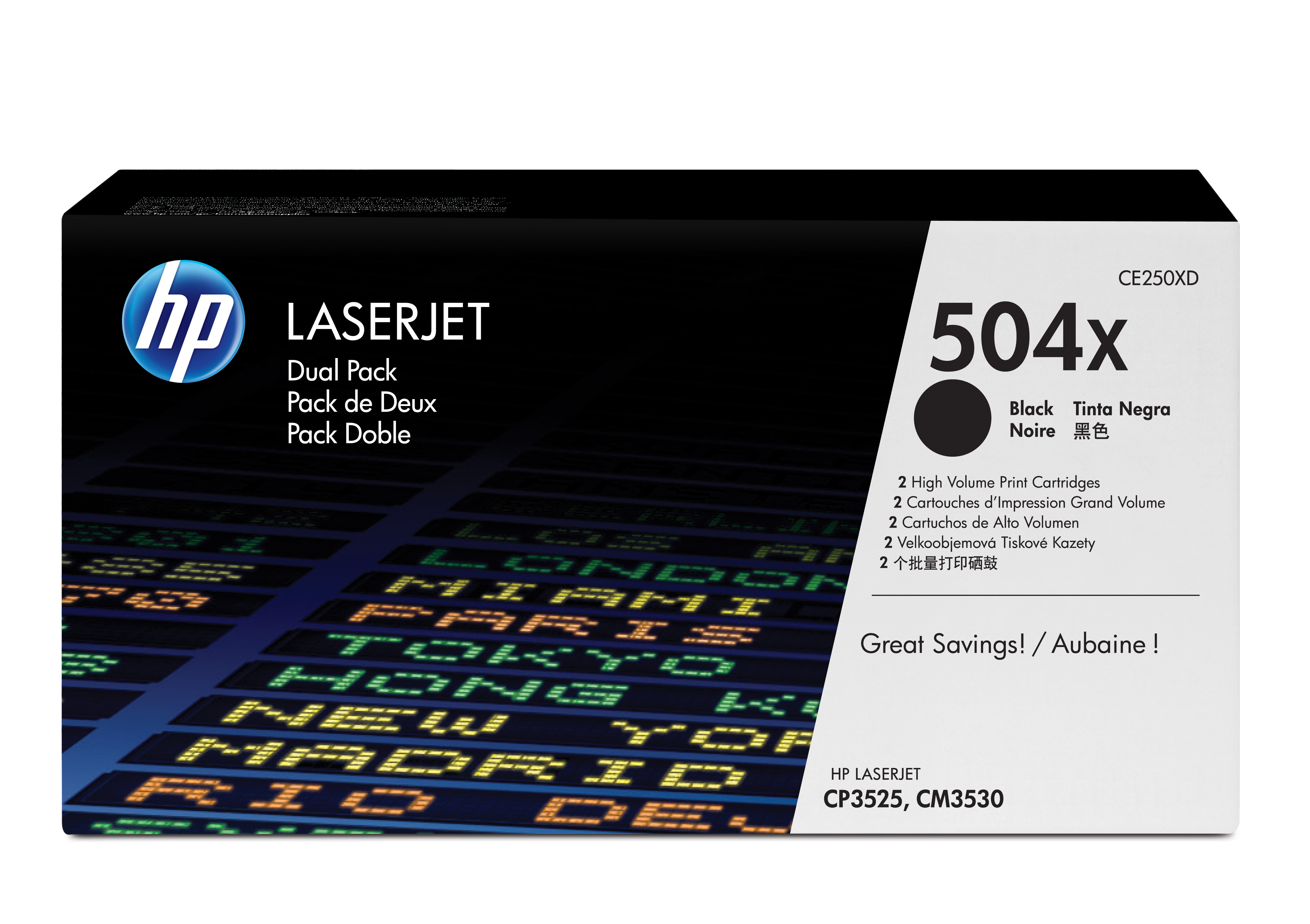 HP 504X Black Dual Pack of High Yield Toner Cartridges CE250XD