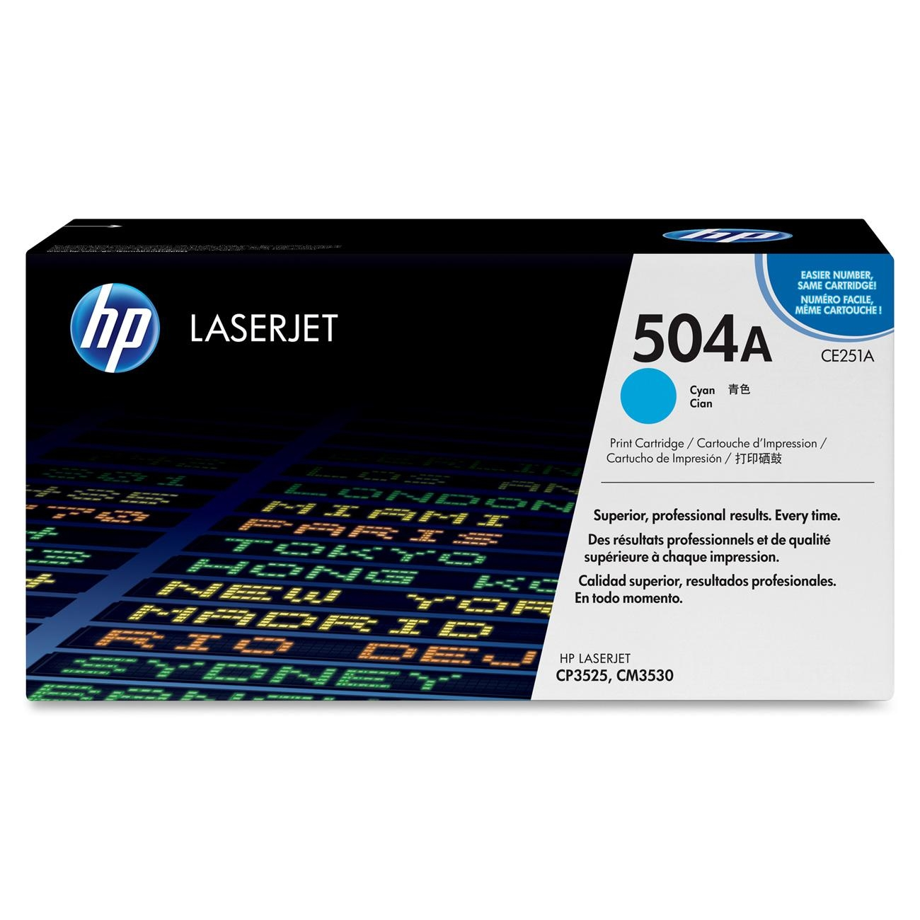 HP 504A Cyan Toner Cartridge, CE251A