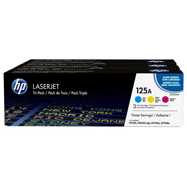 HP 125A Color Combo Tri-Pack LaserJet Toner Cartridges CE259A