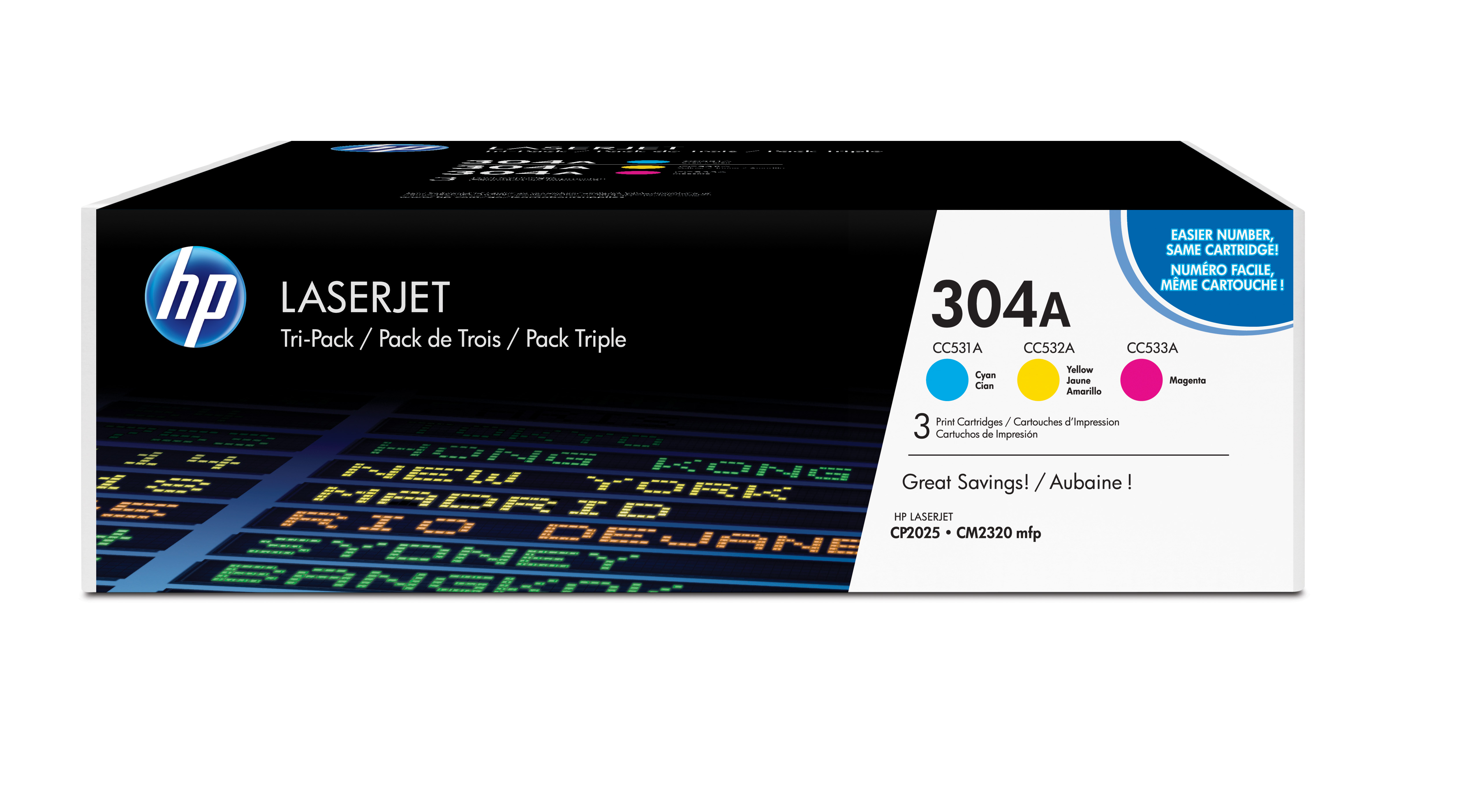 HP 304A Color Toner Combo Pack CF340A