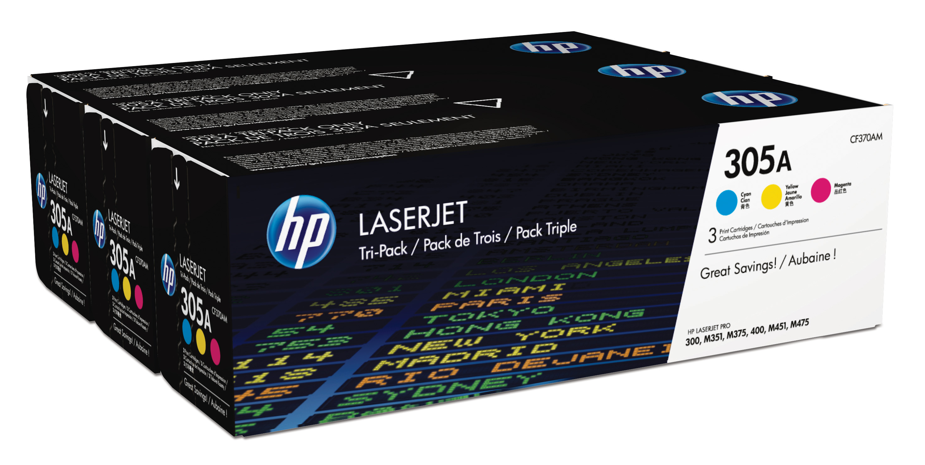 HP 305A Tri-Color Toner Cartridges CF370AM