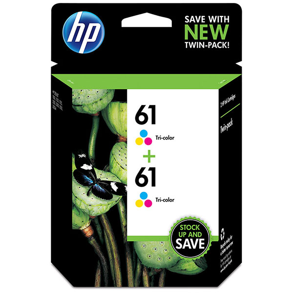 HP 61 HP Tri-Color Ink Cartridge Twin Pack CZ074FN
