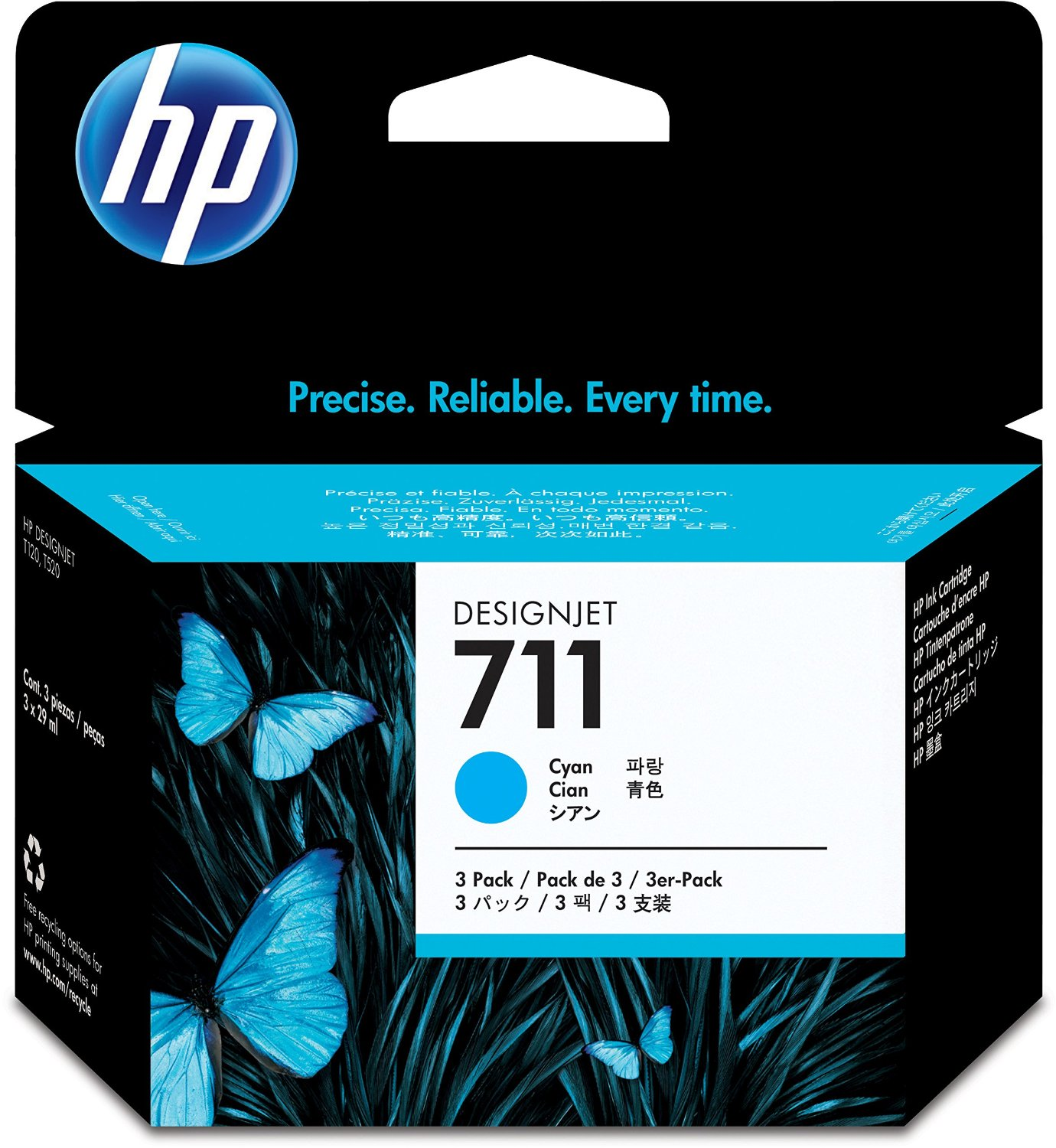 HP 711 Cyan Ink Cartridges CZ134A, 3/Pack