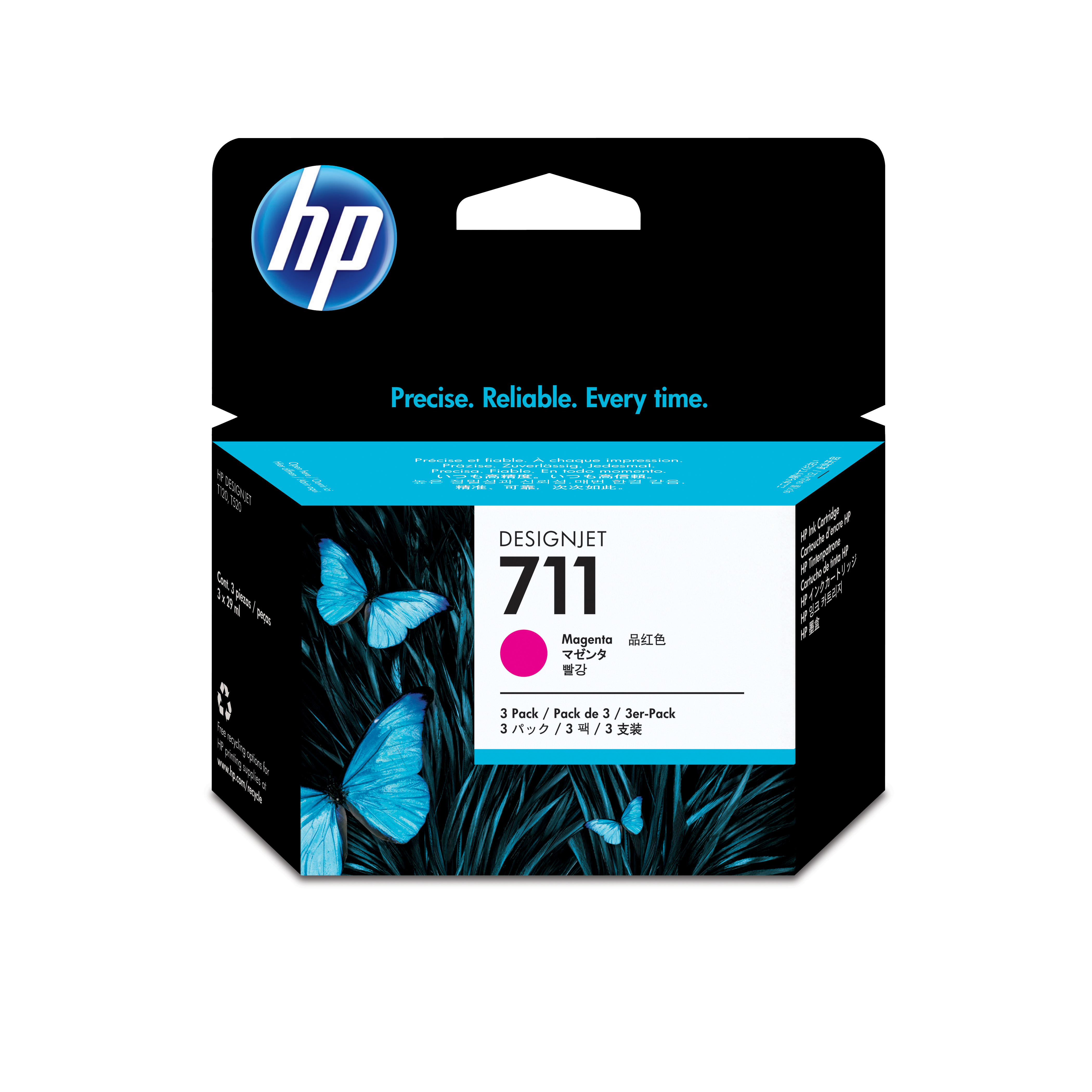 HP 711 Magenta Ink Cartridges CZ135A, 3/Pack