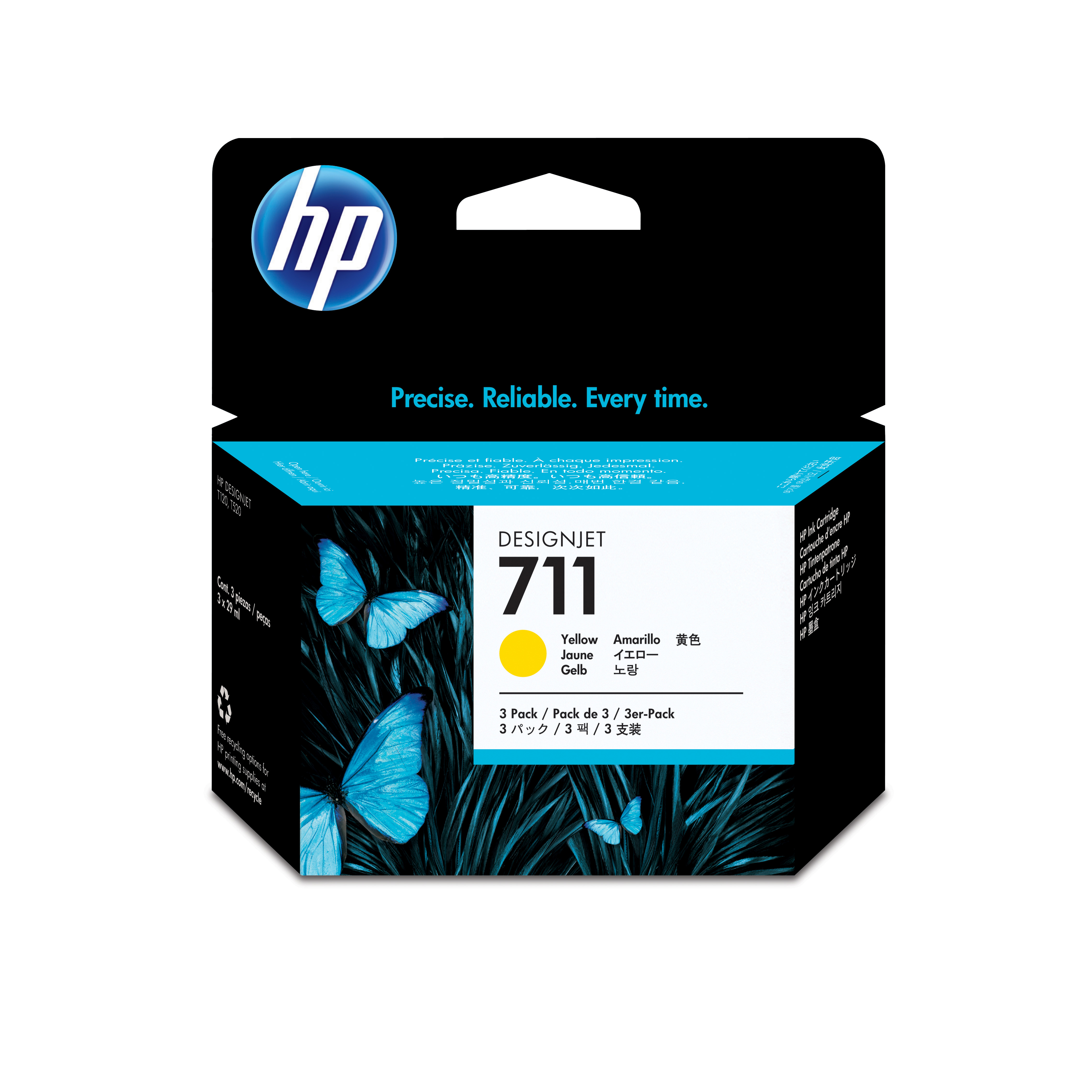 HP 711 Yellow Ink Cartridges CZ136A, 3/Pack