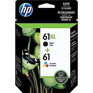 HP 61XL/61 Black/Tri-Color High Yield Ink Cartridge CZ138FN, 2/Pack