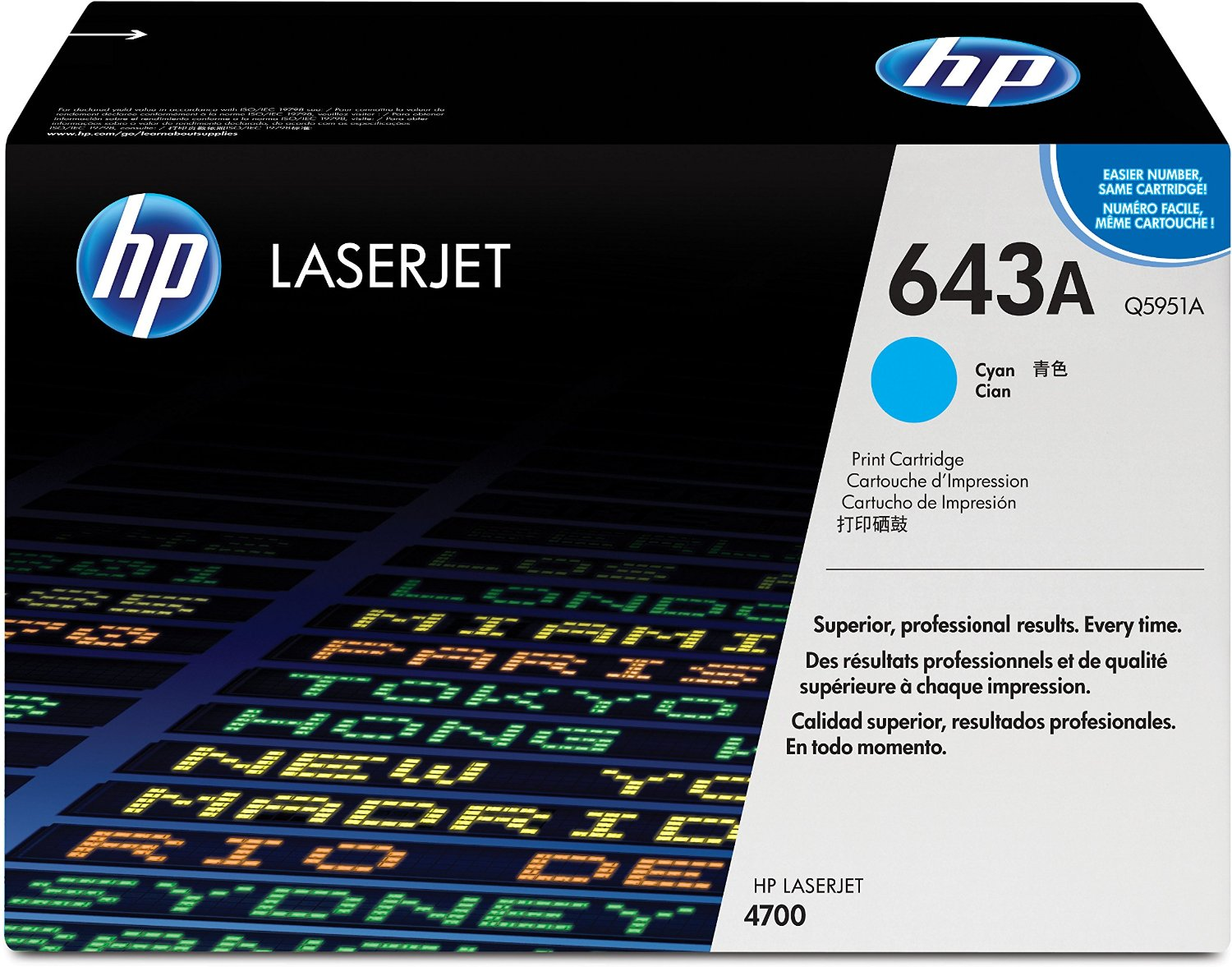 HP 643A Cyan Toner Cartridge Q5951A