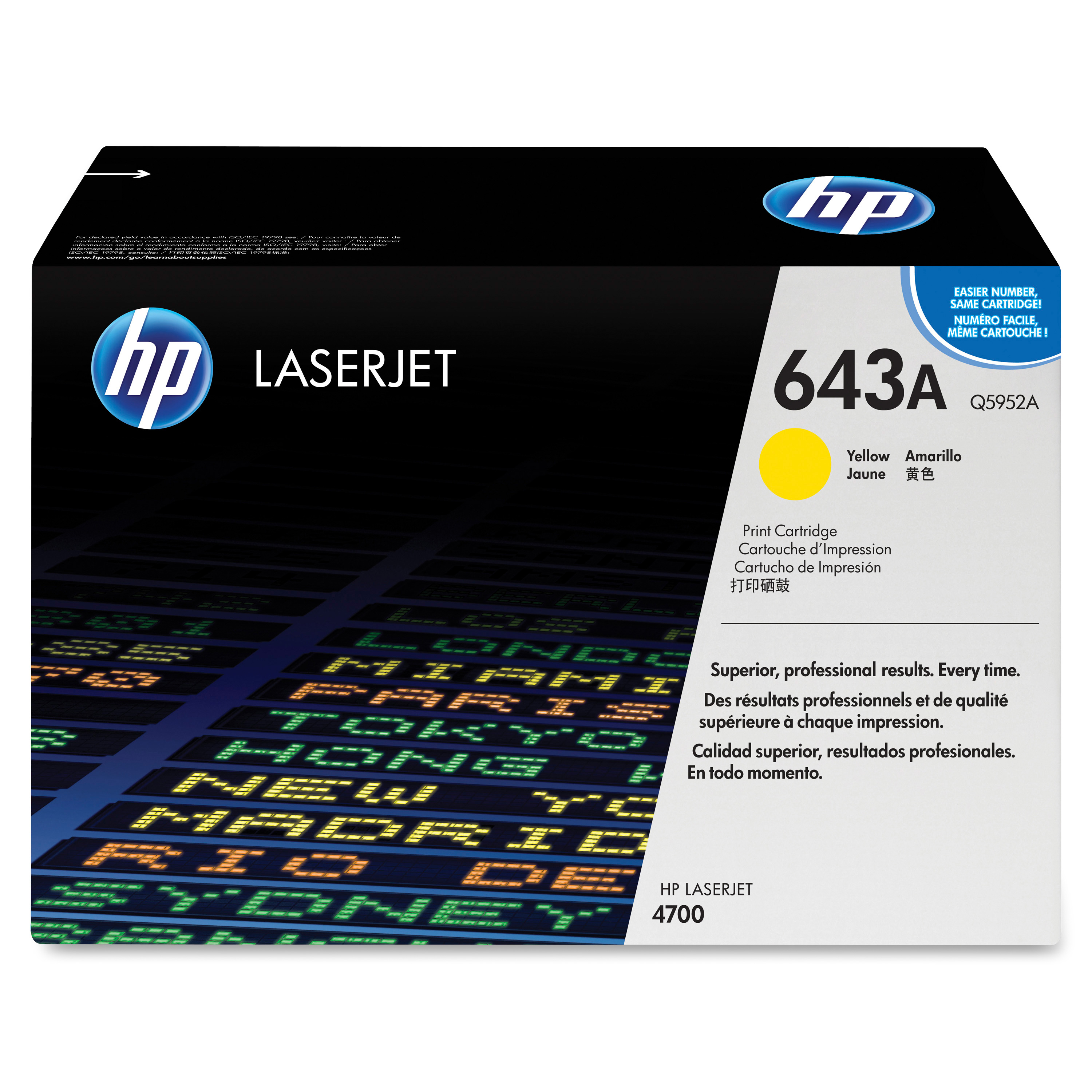 HP 643A Yellow Toner Cartridge, Q5952A